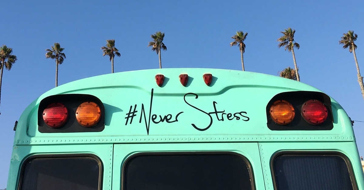 blue bus in blue sky with palm trees